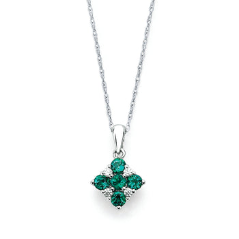 Emerald and Diamond Square Pendany