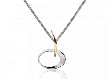 Petite Eliptical Pendant in Silver and 14K Gold
