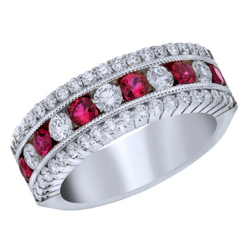 Spark Diamond and Ruby Ring .96cttw/.67cttw