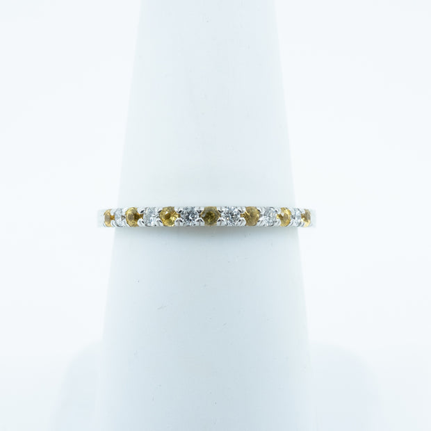 Spark Diamond and Yellow Sapphire Ring .10cttw/.16cttw