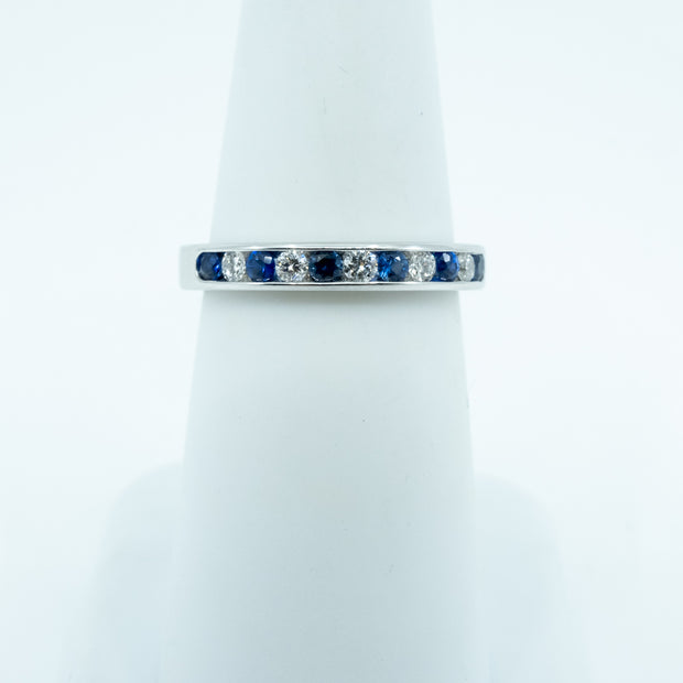 Spark Channel Set Diamond and Sapphire Ring 0.48cttw/14KW