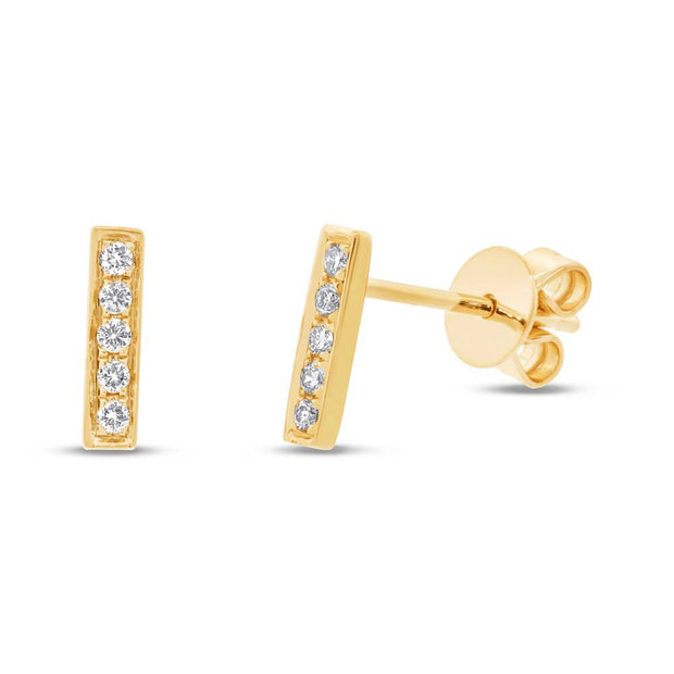 Yellow Gold Diamond Bar Stud Earrings
