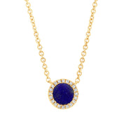Yellow Gold Necklace with Lapis and Diamonds