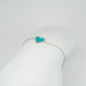 Diamond and Turquoise Heart Shaped Bracelet