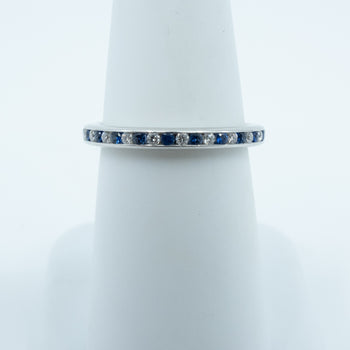 Spark Eternity Diamond and Sapphire Channel Set Band