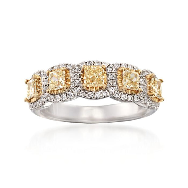 5-Stone -Fancy yellow cushion cut diamond band
