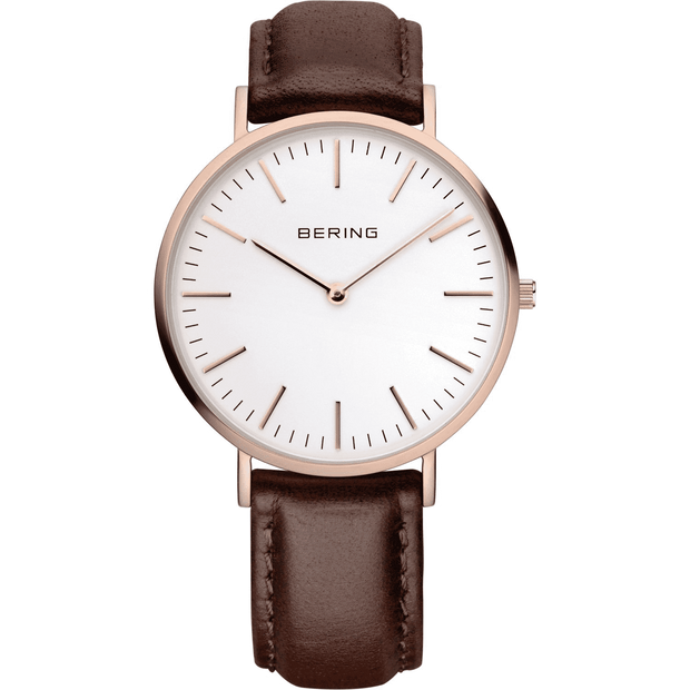 Rose Gold and Brown Leather Watch