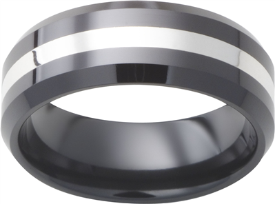 Ceramic 8mm Black With 2mm Sterling Silver Inlay Mens Wedding Band