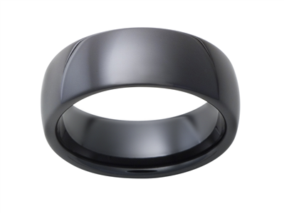 Ceramic 8mm Black Sandblast Mens Wedding Band