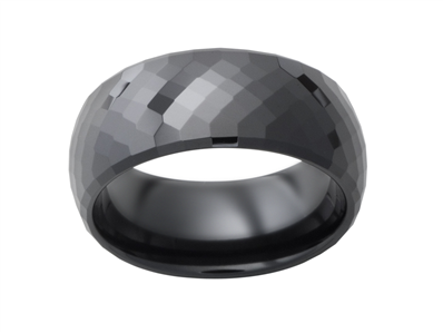 Ceramic 8mm Black Faceted Mens Wedding Band