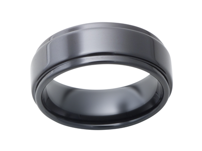 Ceramic 8mm Black Satin Mens Wedding Band