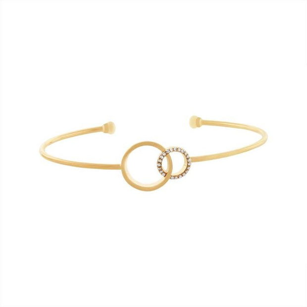 Double Circle Diamond Bangle