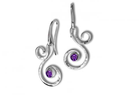 Fiddlehead Amethyst Earrings