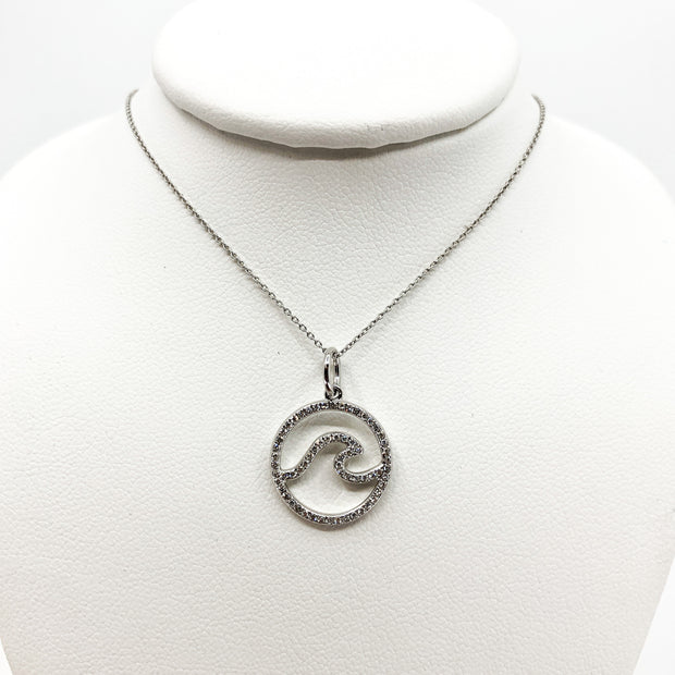 Wave Pendant with Diamonds and White Gold