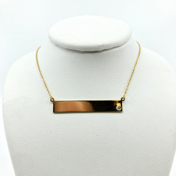 Gold Plated Sterling Silver Bar Pendant