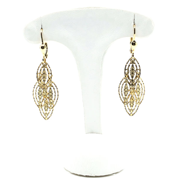 Textured Dangle Yellow Gold Earrings
