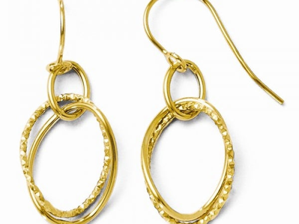 14Kt Yellow Gold Textured Shepherd Hook Earrings