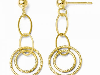 14kt Yellow Gold Textured Post Dangle Earrings