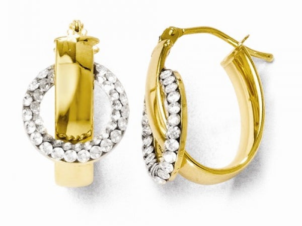 14kt Yellow Gold & Swarovski Elements Oval Hinged Hoop Earrings