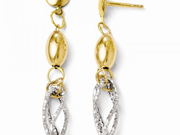 14k Two-Tone Polished And Textured Post Dangle Earrings