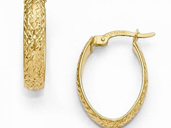 14k yellow Diamond-Cut Oval Hinged Hoop Earrings