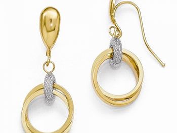 14k Two-Tone Shepherd Hook Earrings