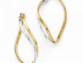 14k Two-Tone Oval Twisted Hinged Hoop Earrings