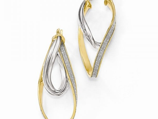 14k Two-Tone Glimmer Infused Twisted Hoop Earring