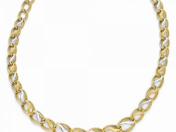 Two-Tone Polished, Brushed & Textured Link Necklace