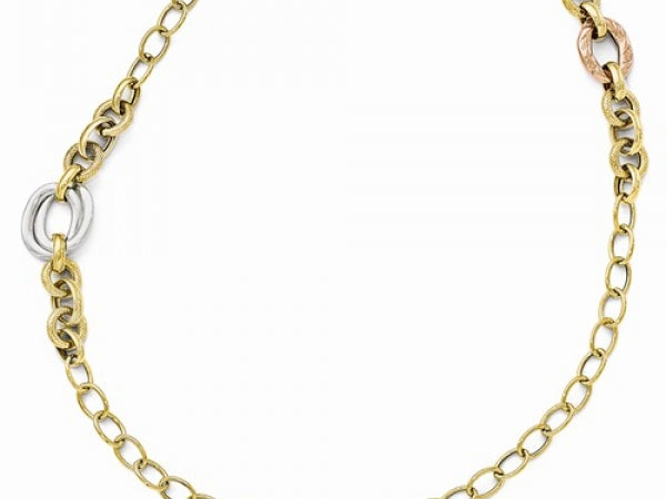 14k Tri-Color Polished Textured Fancy Link Bracelet