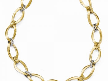 Two-Tone Gold  Polished Diamond Cut Necklace