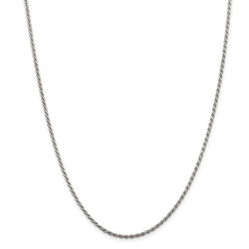 "24"" Silver Diamond Cut Rope Chain"