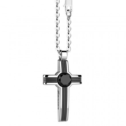 Silver and Onyx Cross Pendant