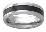 Vitalium 8mm Bevel Black Carbon Fiber Inlay Mens Wedding Band