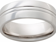 Vitalium 8mm Polished Lined Mens Wedding Band