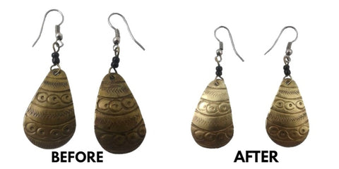 Before and after photos of restored tarnished earrings