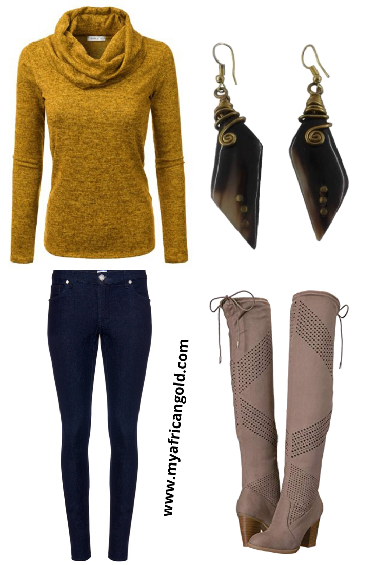 Over the knee boots with skinny jeans