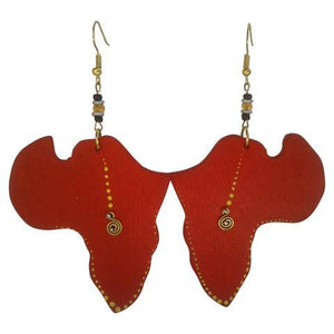African Map Earrings