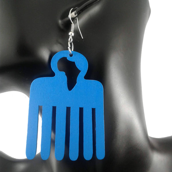 Blue Afro Pick (comb) Earrings