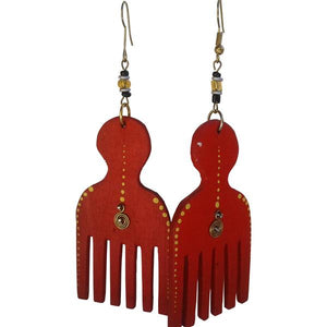Afro pick earrings
