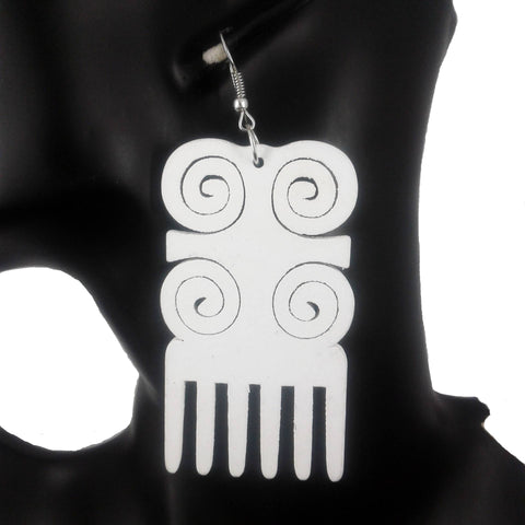 white comb earrings