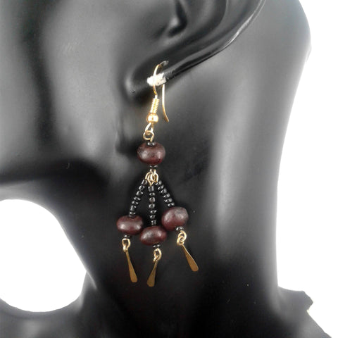 Brown Beaded Dangle Earrings