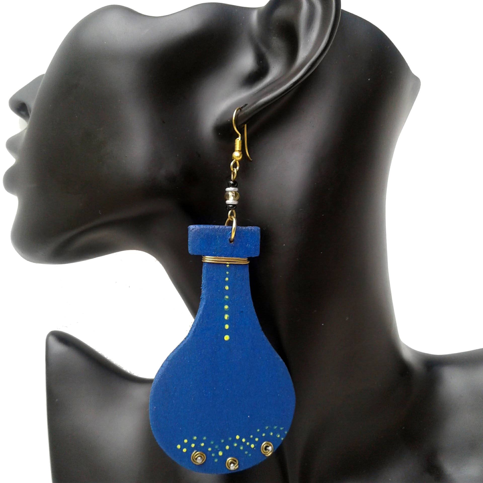 Blue Wooden Dangling Earrings