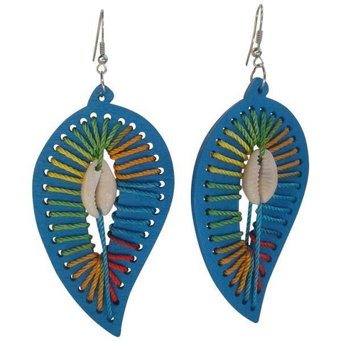 Blue leaf earrings with a shell