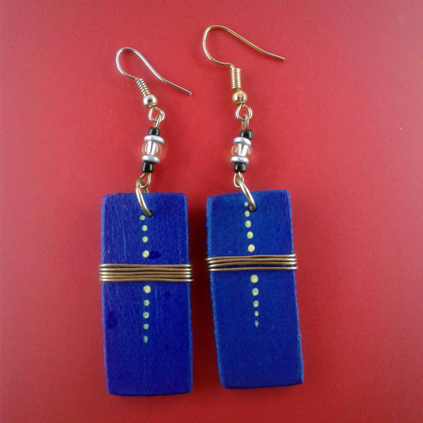 Small Vertical Wooden Earrings