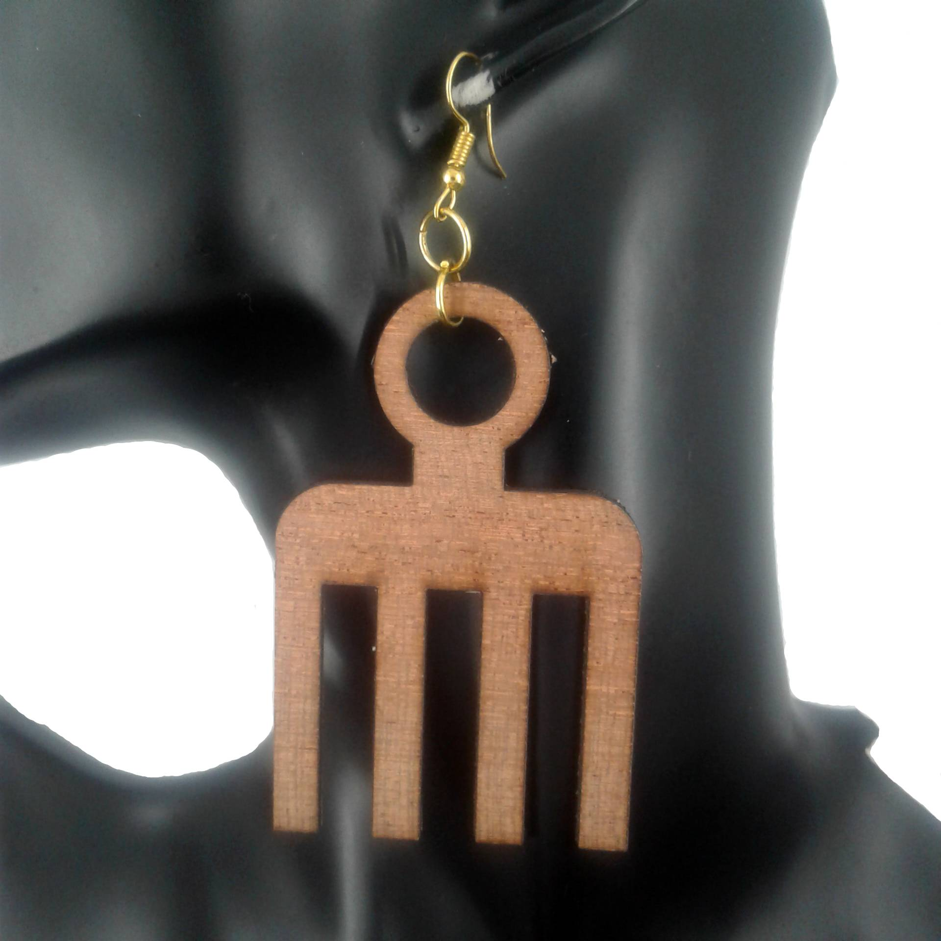 Brown comb earrings
