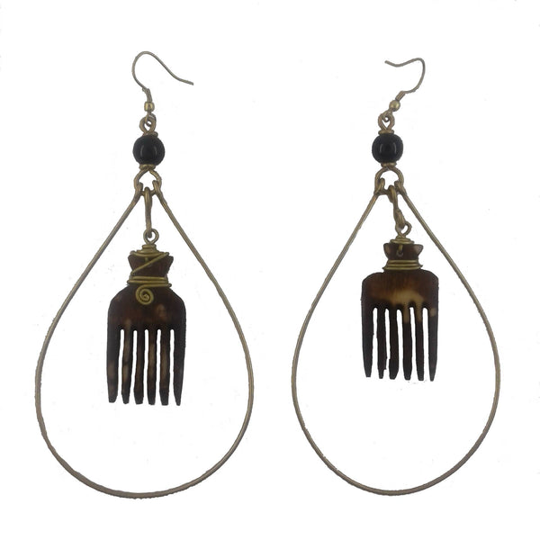 Hoop comb earrings