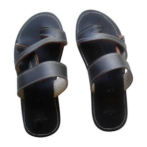 Men's Black Leather Sandals