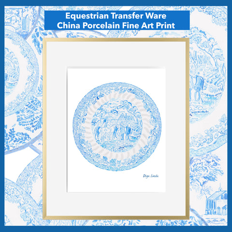 Equestrian Transfer Ware Porcelain China Blue and White Fine Art Print by Diga Linda