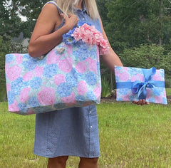 Hydrangea Weekender Bag and Clutch/Pouch